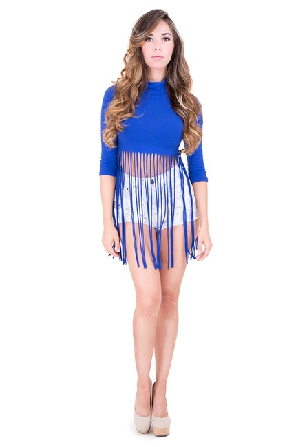 Other Fringe Crop Fringe Hem Top ROYAL BLUE
