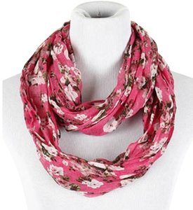 Other Floral Crinkle Infinity Scarf - Pink