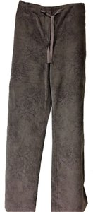 J. Jill Corduroy Straight Pants chocolate brown with light floral design