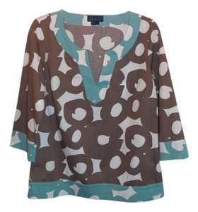Boden 14 Cotton Blend Teal Brown Tunic
