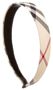 Burberry Beige multicolor Nova Check plaid print woven Burberry headband New