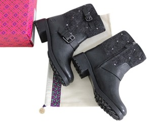 Tory Burch Chrystie Studded Flannel Grey & Black Boots