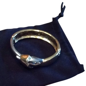 Banana Republic Silver And Gold Hinged Bangle Braclet7