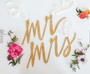 Gold Mr and Mrs Glitter Chair Signs Reception Decoration