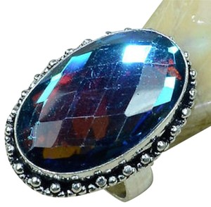 Rainbow Topaz Gemstone Ring Size 7.5 925 Silver J1665