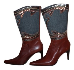 Cowgirl brown, blue Leather Boots