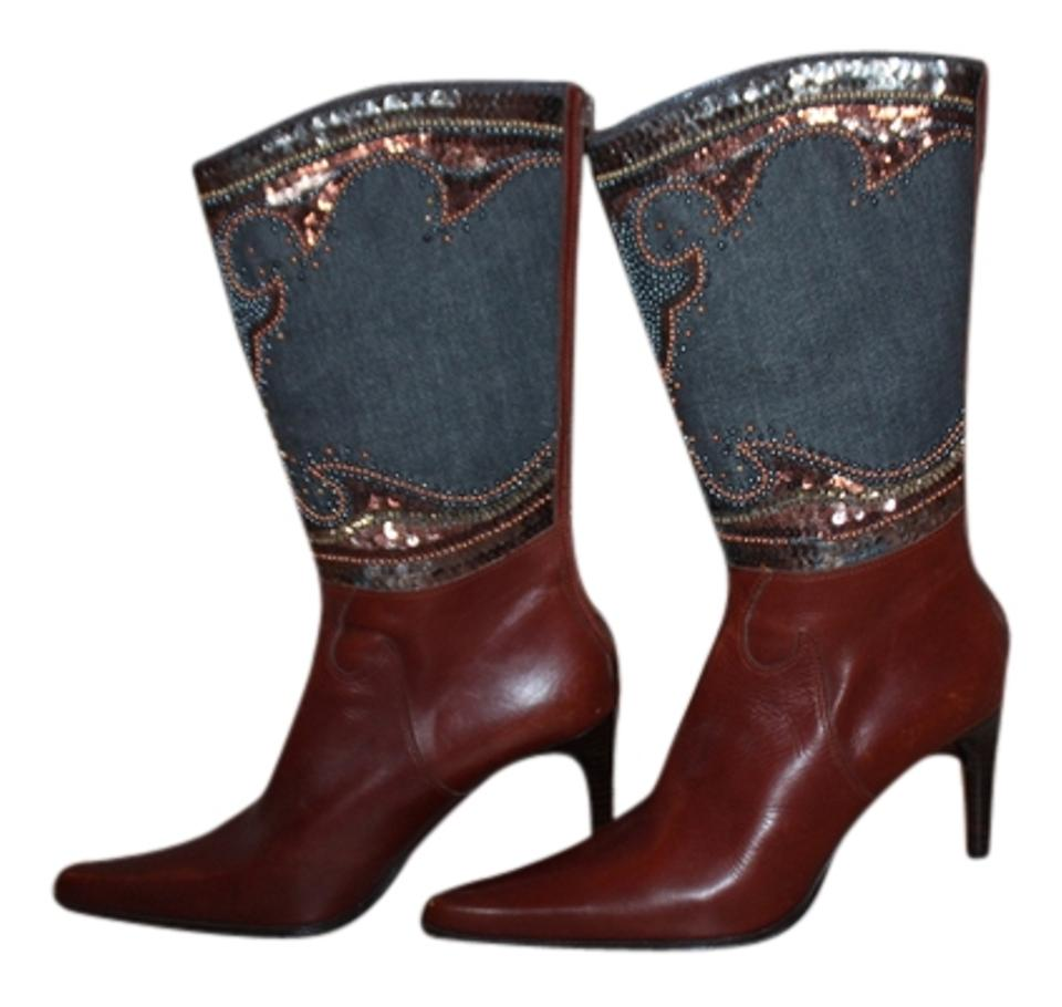 Brown Blue Blue Brown Leather Denim Beaded Boots/Booties 5ff492