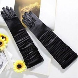 Long Black Satin Elbow Length Gloves Free Shipping