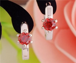 Silver Red Zircon Hoop Earrings Free Shipping