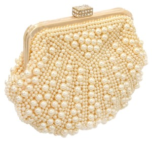 Other Silver Pearl Cream, Gold, Clear Crystal Clutch