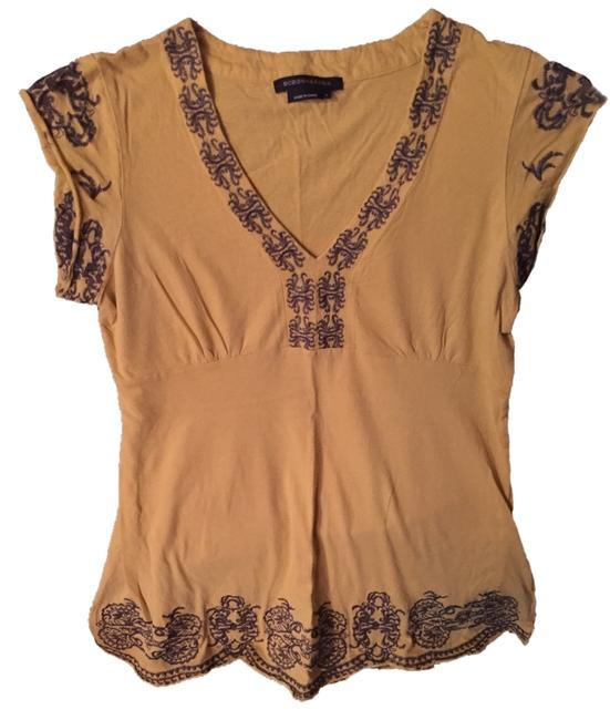 Item - Sunflower Yellow Dressy Cap Sleeve with Lavish Embroidery. Tee Shirt Size 12 (L)