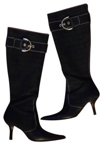 Coach Canvas Monogram Metallic Hardware Chic Black canvas/black leather Boots