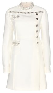 Miu Miu Crystal White Formal Wool Silk Pleated Military Dress