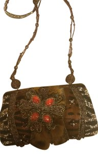 Mary Frances Beaded Wristlet in Multi black, white, orange, brown, bronze
