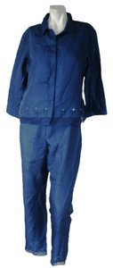 Ice New York Ice Women Silk Pants Suits Blue Beads Detail Size 10