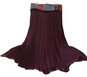 Hale Bob Sequined Silk Embroidered Maxi Skirt