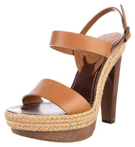 Christian Louboutin Sandal Espadrille Designer Louis Vuitton Leather Es Cubells Jute Brown/Tan Platforms
