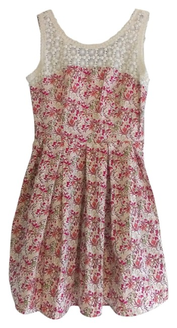 Modcloth short dress Pink Floral Crochet Adorable Light on Tradesy