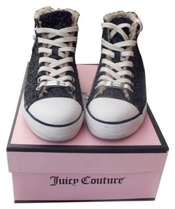 Juicy Couture Sequin Wool High Top Sneakers Fur charcoal gray Athletic