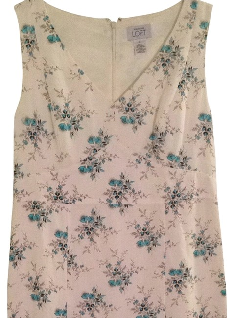Ann Taylor LOFT short dress Ivory w/blue flowers on Tradesy