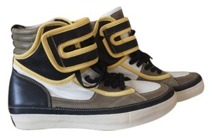 J SHOES Futuristic Retro Hi-top Sneakers Leather Unique White, Yellow, Grey & Black Boots