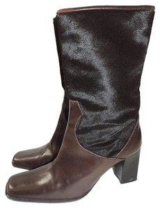 Delman Fur Unmarked Womens Cow Hide Long Heels Brown Boots