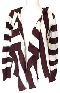 Other Y Jessi Ivory Stripe Hooded Open Cardigan Asymmetrical Sweater