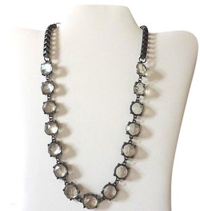 Gun Metal Necklace Smoke Acrylic Rhinestone Square Link Chain - 19 Inches