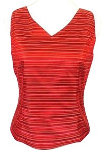 Ann Taylor Petites Silk Sleeveless Striped 6p Top Red
