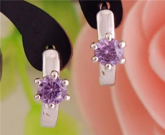 Bogo Free Silver Plated Amethyst Hoop Earrings Free Shipping