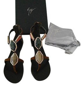 Giuseppe Zanotti E50376 Marbled Contoured Bezel Made In Italy Brown Sandals