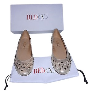 RED Valentino Studded Distressed Finish Lovely Soft Color Platinum Flats