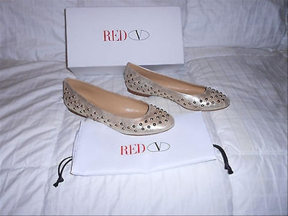 Ballet Valentino Platinum RED Distressed Leather Flats Studded 8wzxz