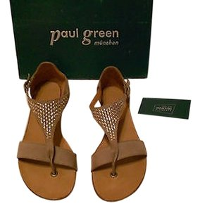 Paul Green Venice Swarovski Crystal And Disc Accents Contoured Footbed Flexible Comfortable Truffel Sandals