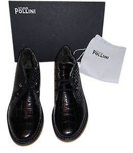 Studio Pollini Textile & Leather Croc Embossed Faux Fur Black Boots