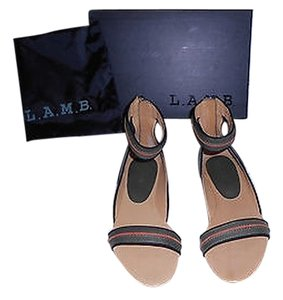 L.A.M.B. Ciara Reptile Embossed Ankle Strap Chic Olive Sandals
