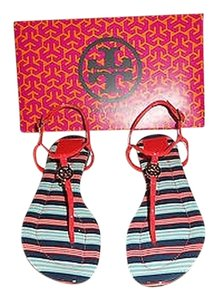 Tory Burch Chic Design Habanero Pepper/Bauer Stripe Sandals