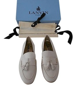 Lanvin Tasseled Lambskin Runs Large Winter White Flats