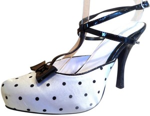 Penthouse by Ellie Shoes Minnie Stripper Black & White Sandals