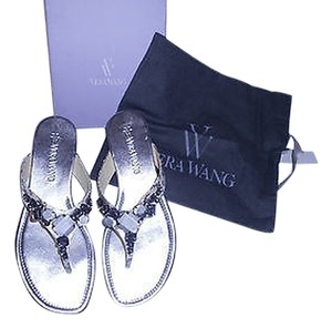 Vera Wang Snake Embossed Crystal Accents Silver/Cream Sandals