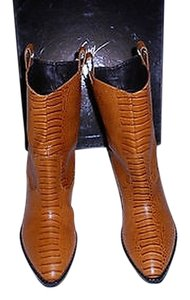 Giuseppe Zanotti Western Style Reptile Embossed Stacked Wooden Heel Cognac Boots