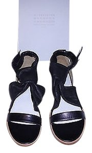 Maison Margiela Mixed Leather Wooden Platform Chic Style Made In Italy Black Sandals