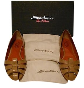 Santoni Chic Design Versatile Color Made In Italy Tan Flats