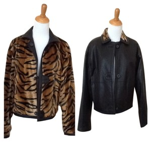 Cache Reversible Faux Fur Leather Jacket