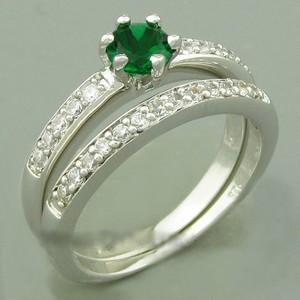 Green Zircon Wedding Band Set Free Shipping
