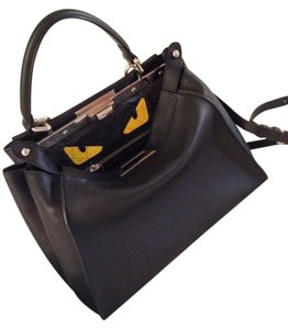 Fendi Peek A Boo Leather Yellow Python Eyes Monster Satchel in BLACK