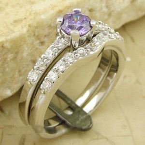 Purple Zircon Ssp Wedding Band Set Free Shipping