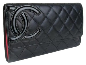 Chanel Chanel Black Cambon Long Trifold Quilted Leather CC Monogram Wallet.