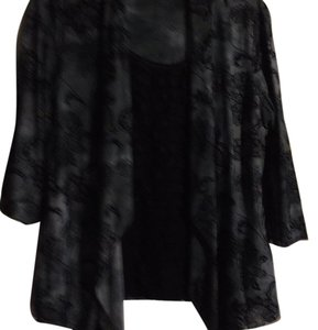 Dress Barn Top Black/ light & dark gray