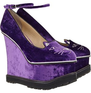 Charlotte Olympia Round Toe purple Wedges